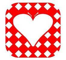 Red Rounded Checkered Heart Square by kwg2200