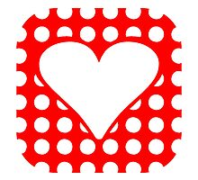 Red Rounded Polka Dots Heart Square by kwg2200