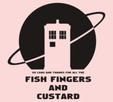 SO LONG AND THANKS FOR ALL THE FISH FINGERS AND CUSTARD BLACK Kids Clothes