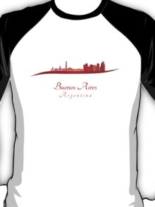 Buenos Aires skyline in red T-Shirt