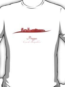 Prague skyline in red T-Shirt