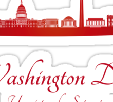 Washington DC skyline in red Sticker