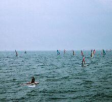 Windsurfers galore Lago Garda nr Riva di Garda Italy 198404210042m  by Fred Mitchell