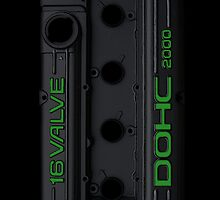 4g63 Valve Cover - Black and Green by Hector Flores