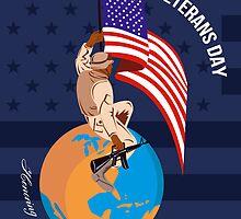 Modern American Veterans Day Greeting Card by patrimonio