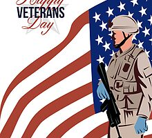 Modern American Veteran Soldier Greeting Card by patrimonio