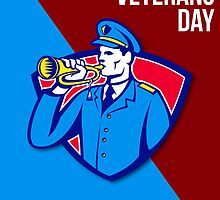 Modern Veterans Day Soldier Bugle Greeting Card by patrimonio