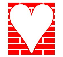 Red Bricks Background Heart by kwg2200