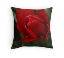 One Very Red Tulip in the Rain Throw Pillow