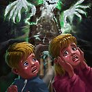 Kids with Haunted Grandfather Clock Ghost by martyee