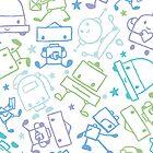 Doodle robots pattern by oksancia