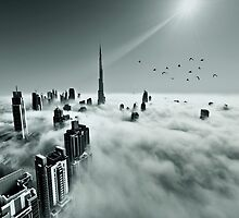 Burj Khalifa - Dubai during fog by naufalmq