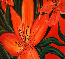 Tiger Lily Trio by SherryAllenArt