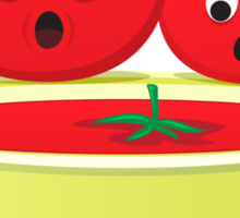 Tomatoes looking at tomato soup sticker Sticker