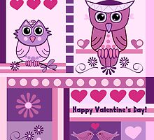 Owls, Love birds, Patterns Valentine's day text card by walstraasart