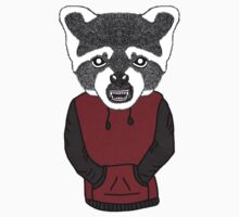 Illustration/Digital artwork of a Raccoon that is wearing a Red/Grey coloured Hoody by Gemma1995