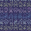 Cute robots stripes pattern by oksancia
