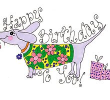 sausage birthday card by ACDesignsGB