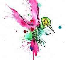 Hummingbird Skeleton Watercolor/Pen&Ink by LVBART