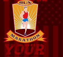 Marathon Runner Push Yourself Poster Front by patrimonio
