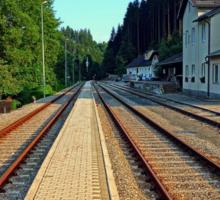 Haslach railway station   architectural photography Sticker