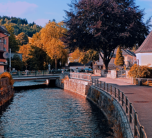 The river through the village center | waterscape photography Sticker
