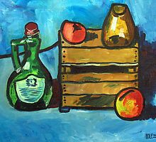 Bottle, Crate, and Fruit by Robert Holewinski