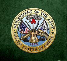 U.S. Army Seal 3D on Green Velvet by Captain7