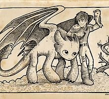Hiccup and Toothless by Steve Stivaktis