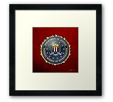 Federal Bureau of Investigation - FBI Emblem 3D on Red Velvet Framed Print