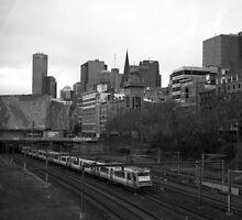 Train by Fed Square by Hamish Nicholson