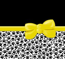 Dog Paws, Traces -  Ribbon and Bow - White Black Yellow by sitnica