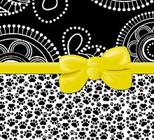 Dog Paws, Traces, Dots -  Ribbon and Bow - White Black Yellow by sitnica