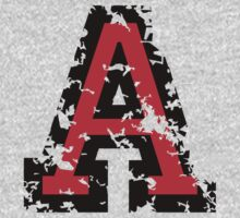 Letter A (Distressed) two-color black/red character by theshirtshops