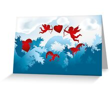 Sea of love - cupids on heart hunting Greeting Card