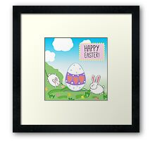 illustration or a postcard with bunnies and decorative egg.  Congratulations with Easter.  Blue sky, animals on the meadow  Framed Print
