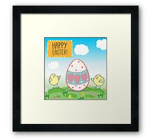 Illustration or a postcard with the chickens and decorative  egg  Congratulations with Easter  Blue sky, animals on the meadow  Framed Print