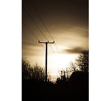 Power Masts in Moon Light Photographic Print