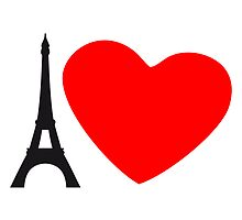 I Love France Eiffel Tower Paris Heart by Style-O-Mat