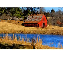 Gorgeous Red Barn, and Cobalt Blue Water. Photographic Print