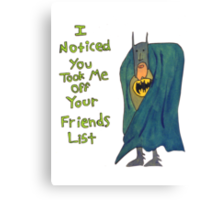 Batman's Facebook Friend's List Canvas Print
