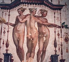 Damaged Three Graces wall painting Garden Palace Sabbionetta Italy 198404220026 by Fred Mitchell