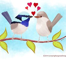 Adorable Blue Wren Birds in Love by JumpingKangaroo