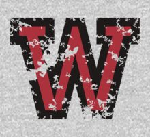 Letter W (Distressed) two-color black/red character by theshirtshops