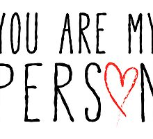 You are my person, text design with red scribble heart by beakraus
