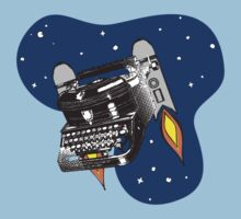 Outer space vintage typewriter jet pack rockets by BigMRanch
