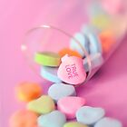 Romantic True Love Valentines Day Candy Hearts Card by Mariannne Campolongo
