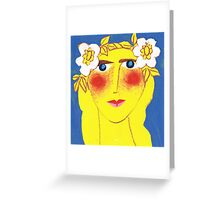 Blue-eyed Maiden with Flaxen hair Greeting Card