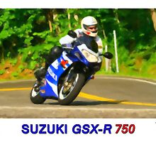 Suzuki GSXR 750 - Digital Painting by William  Israelson