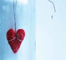 Red wool heart by Arina Borevich